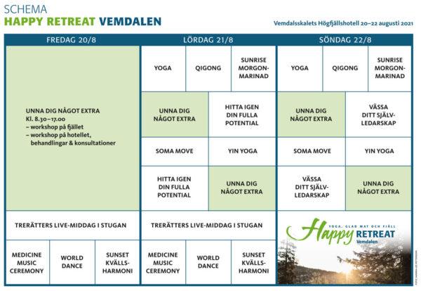 Happy Retreat Vemdalen 2021 - SCHEMA